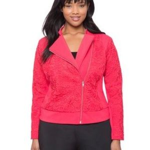 NWT Eloquii Studio Lace Biker Jacket in pink